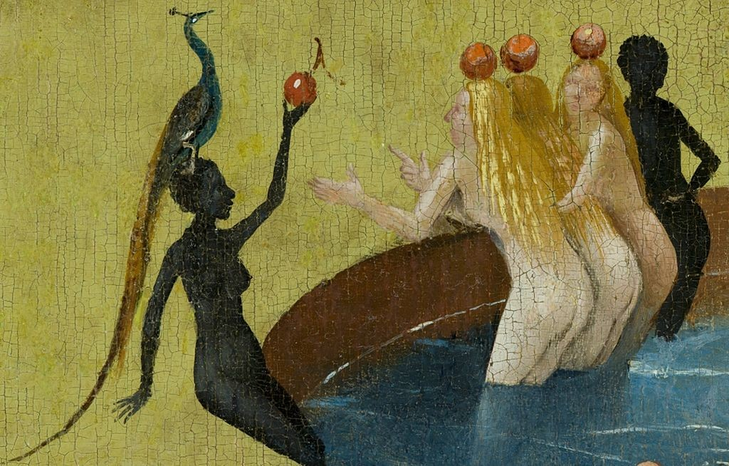 """Bosch, Hieronymus - The Garden of Earthly Delights, center panel - Detail women with peacock"" by Hieronymus Bosch (circa 1450–1516)"